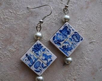Portugal Lisbon Delft Blue Antique Tile Replica Earrings  - Pasteis de Belem founded in 1837