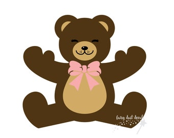 Teddy Bear Wall Decal - children teddy bear decoration - teddy bear nursery - bear with bow wall sticker - teddy bear vinyl wall decal NEW