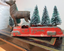 "Vintage Metal Tootsie Toy Truck loaded 3 Bottle Brush Trees Loaded Ready for Delivery Desk Decor Vintage Decor Holiday Decor 6"" Red Truck"