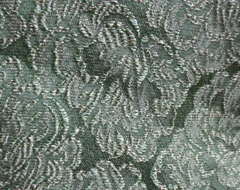 """Vintage Hollywood Regency Emerald Green Damask with Gold highlights almost 3 yards by 40"""" Damask fabric"""