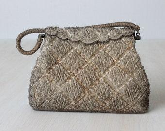 Silver Beaded Evening Formal Handbag / Beaded Clutch / Evening Purse / Frost