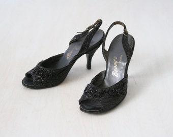 Vintage 1950s Black Beaded High Heel Shoes / 50s Black Peep Toe Sling Back High Heel Pumps /  Size US6 Euro36-37  UK4