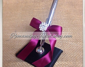 Romantic Satin Wedding Guestbook Pen with Rhinestone Accent...You Choose Colors.... shown in black/burgundy