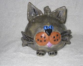 Whimsical Gray Ball Kitty
