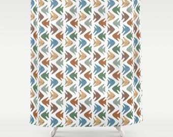 Fish shower curtain, fish pattern art, bathroom fish design, fish bathroom decor, seaside theme decor, marine bathroom, fish illustration