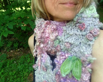 reserved - hand knit scarf hand spun art yarn soft patchwork boho faerie scarf -  lilac and rose fantasy scarf