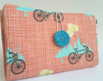 Handmade Tampon and Pad Clutch Coral Pink Aqua - City Ride
