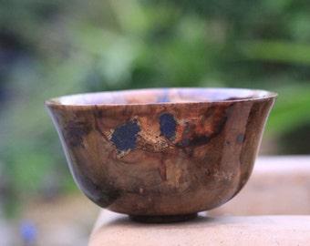 Camphor wood bowl with Azurite stone inlay.