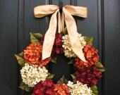 Wreath, ON SALE Wreaths, Fall Hydrangea Wreaths, FALL Wreath on Etsy, Wreaths Etsy, Fall Hydrangea Wreaths for Front Door, Hydrangea Wreath