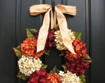 Wreath, ON SALE Wreaths, Fall Hydrangea Wreaths, FALL Wreath on Etsy, Wreaths Etsy, Fall Hydrangea Wreaths for Front Door, Hydrangea Wreath