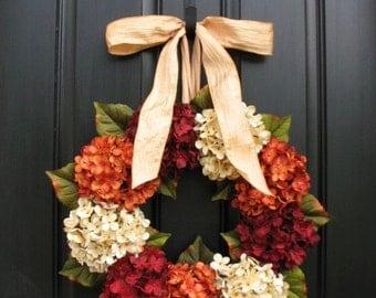Wreaths, ON SALE Wreaths, Fall Hydrangea Wreaths, FALL Wreath on Easy, Wreaths Easy, Fall Hydrangea Wreaths for Front Door, Hydrangea Wreath
