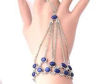 Slave Ring Bracelet in Silver and  Lapis