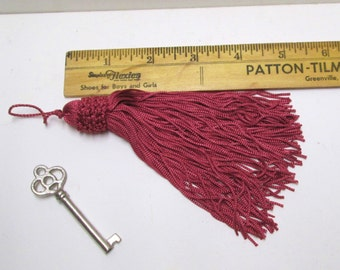 "TASSELS 4 Long Chainette Tassels 5-6"" Salmon Rose Pink Drapery Upholstery Tassel Key Fobs Set Large Tassel Pillow Trim Costume Burlesque"