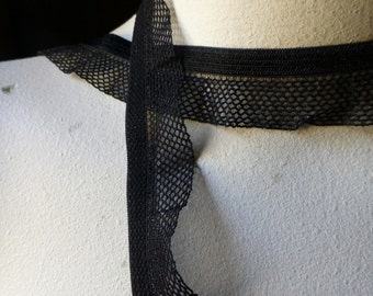 5 yds. Ruffled Black Net Stretch Elastic Lace Trim for Lingerie, Costume or Jewelry Design EL 222