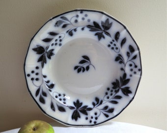 Antique Mulberry Transfer Ware Bowl by T. Walker Brushstroke  Flow Mulberry/Black Rimmed Soup Bowl/Plate 1800's England
