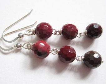 Disco Balls, mookaite jasper earrings, rouge and rose, red wine, sterling and stone earrings