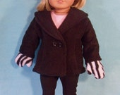 18 Inch Doll Black Coat with Mittens Hat & Boots