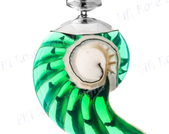 "2 11/16"" Cool Green Nautilus Shell 925 Sterling Silver Pendant"