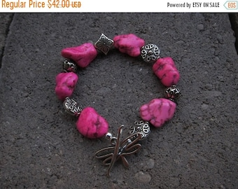 ON SALE Bright Pink Turquoise and Sterling Silver Bead Bracelet with Dragonfly Clasp