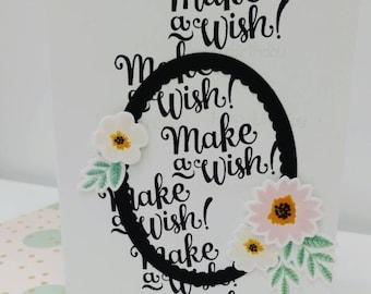 Handmade birthday card, make a wish, flowers