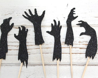 Zombie Hands Cupcake Toppers - Set of 12 - Halloween