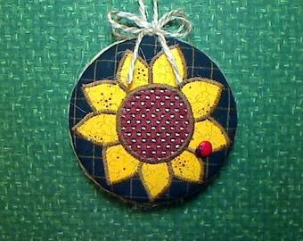 Reversible Sunflower Ornament | Fall Decor | Decoration | Folk Art | Party Favor | Holidays | Thanksgiving | Tree Ornament | Handmade | #3