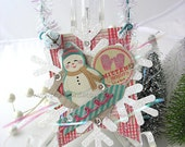 Vintage Style Collage Hanging Ornament~Christmas Ornament~Bunting~Snowflake~Mittens~Snowman~Christmas Express~Pink~Green~Red~White