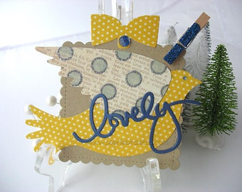 Lovely Yellow and Royal Blue Bird Sentiment Clip On Gift Tags, Set of TWO, Gift Topper, pretty packaging, kraft, yellow, blue