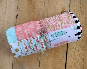 Patchwork Baby Blanket Quilt in Coral, Mint and Gold. Baby Girl Quilt. Metallic gold dots, arrows and feathers. Modern baby blanket.