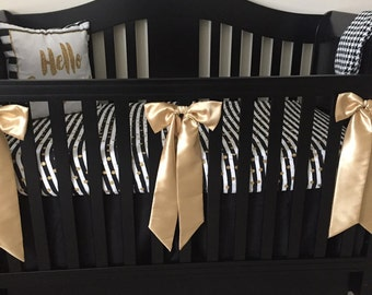 Gold Satin Crib Bows - Decorative crib bows - Boutique style large bows - Nursery Accessories