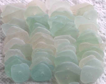 59 Sea Glass Sequins Centre Drilled 1.5mm holes Imperfections Supplies (1843)