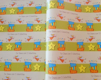 Birthday Gift wrapping paper with your Text! 3 sheets, 50x70 cm