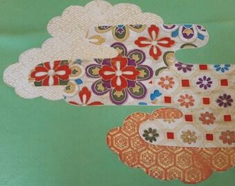 KOFU - fabric from used Kimono,  Silk, Green color 35cm X 106cm