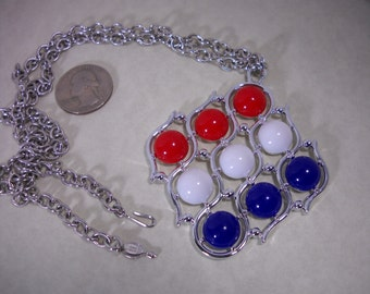 "Red/White/Blue 1973 Sarah Coventry ""THREE CHEERS"" Necklace Patriotic Holiday Summer"
