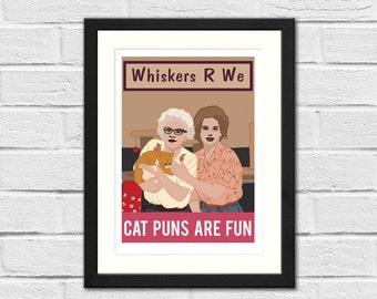 Cat Puns Are Fun SNL Inspired Art Print - Kate McKinnon, Amy Adams