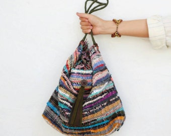 Gloria Hobo Shoulder Kilim Bag with Dark Green Handles and Leather Tassel. Boho Chic Style Bag. Women's Gift. Bag from Greece. Gypsy Bag