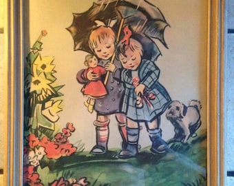 Two Cute Girls with an Umbrella Framed Print