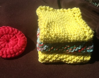 Cotton Dish Cloths set of 3 with Scrubby