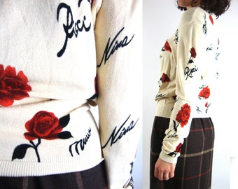 90s nina ricci signature rose sweater small