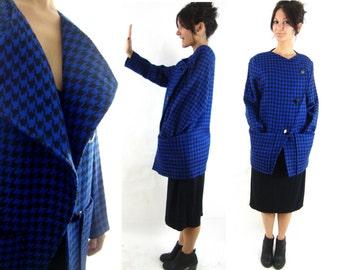 80s jacket coat wool asymmetrical / blue black houndstooth / oversize S M