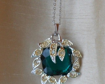 Vintage Sarah Coventry Pendant Aqua rhinesone layered beautiful