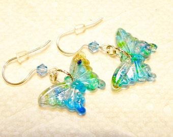 Turquoise Blue and Green Glass Butterfly Earrings with Goldstone Accent