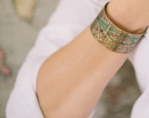 Vintage Paris Street Map with River Seine Brass Cuff Bracelet - French Cartography Map Jewelry - Steampunk Style Cuff