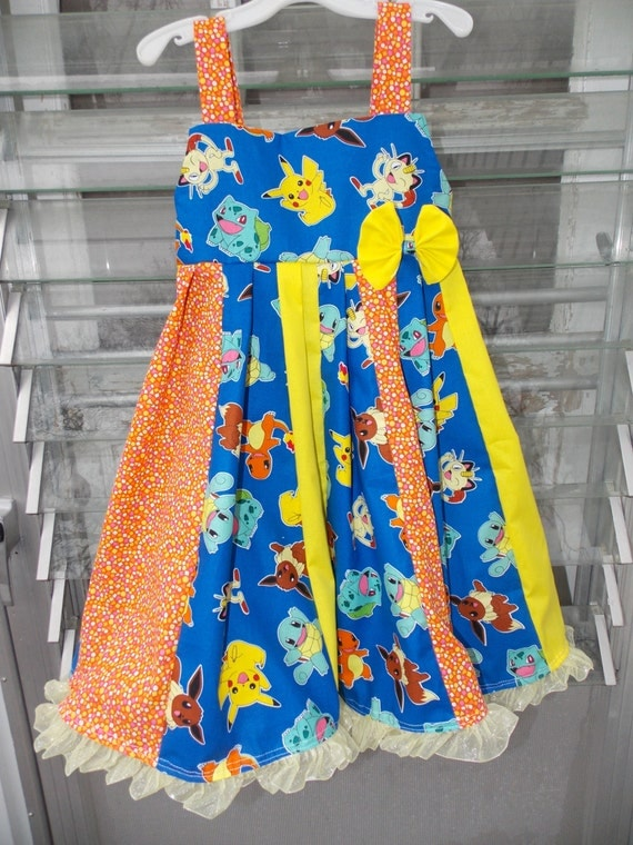 custom boutique dress made with pokemon  fabric size 2-6