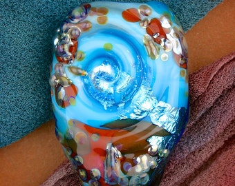 """One of a Kind Lampwork Glass Beads SRA """"Spiral"""" Handmade Organic Textural Silver and Glass Focal"""