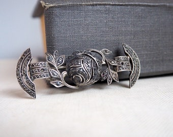 Silve Rose Brooch Antique Marcasite Sterling Bar Pin