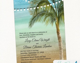 Beach Wedding Invitation, Tropical Wedding Invitation, Palm Tree WEdding Invitation, Destination Wedding, Printable Invitation, Digital File