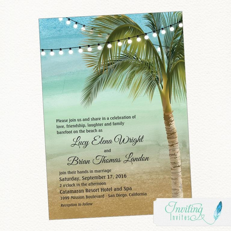 Beach Wedding Invitation Tropical Wedding Invitation Palm