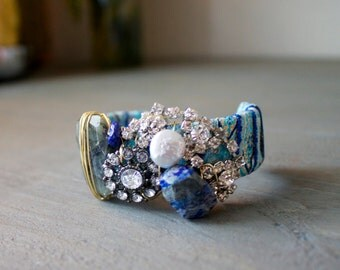 Funky Cuff with Trim, Brooches, Lapis and Quartz
