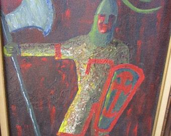 Vintage Medieval Knight Renaissance Original Framed Oil Painting